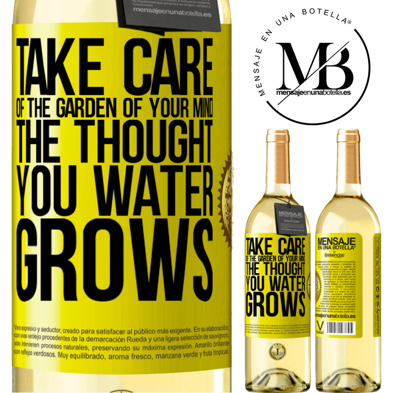 24,95 € Free Shipping | White Wine WHITE Edition Take care of the garden of your mind. The thought you water grows Yellow Label. Customizable label Young wine Harvest 2020 Verdejo