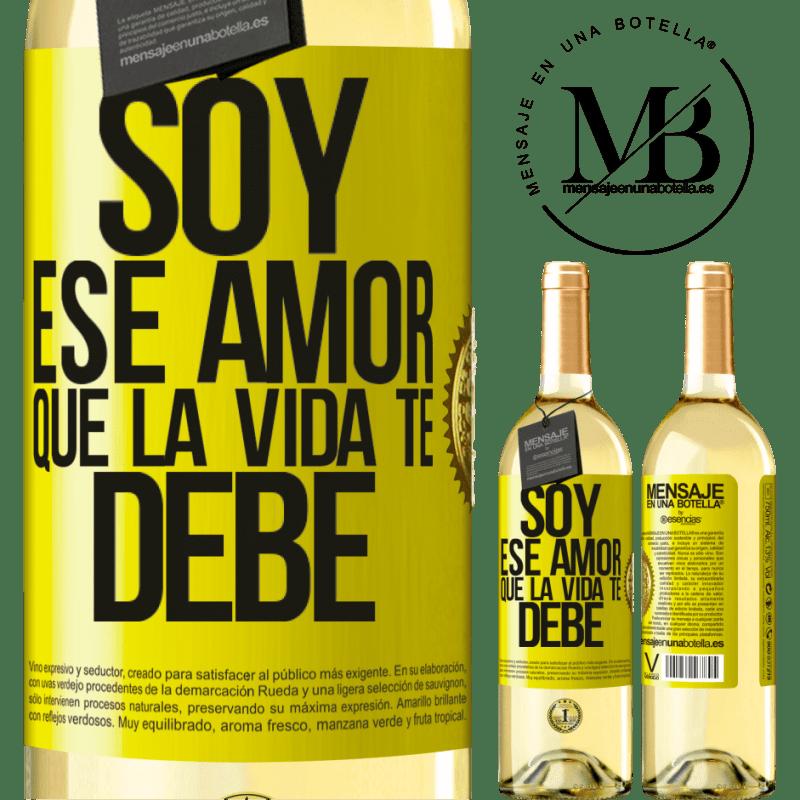 24,95 € Envoi gratuit | Vin blanc Édition WHITE Je suis cet amour que la vie te doit Étiquette Jaune. Étiquette personnalisable Vin jeune Récolte 2020 Verdejo