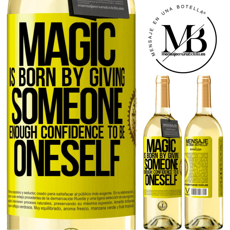 24,95 € Free Shipping | White Wine WHITE Edition Magic is born by giving someone enough confidence to be oneself Yellow Label. Customizable label Young wine Harvest 2020 Verdejo