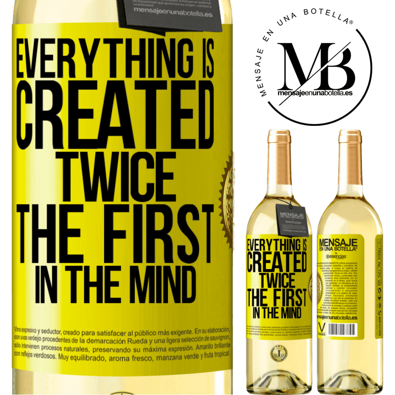 24,95 € Free Shipping | White Wine WHITE Edition Everything is created twice. The first in the mind Yellow Label. Customizable label Young wine Harvest 2020 Verdejo