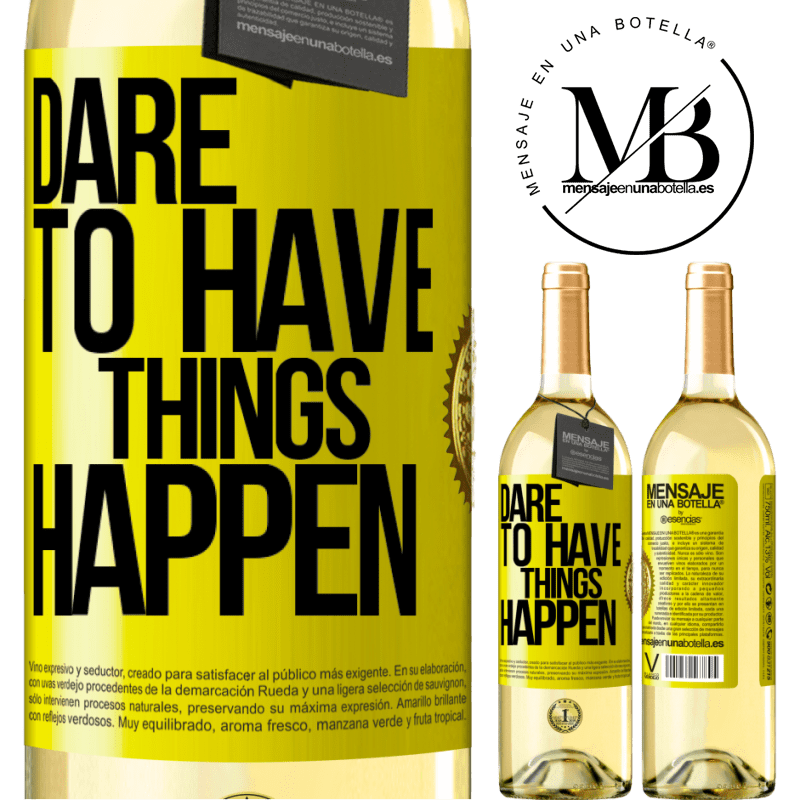 24,95 € Free Shipping | White Wine WHITE Edition Dare to have things happen Yellow Label. Customizable label Young wine Harvest 2020 Verdejo