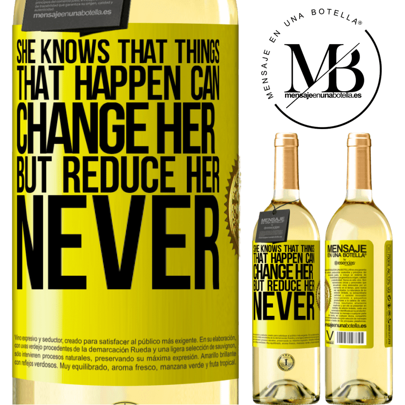 24,95 € Free Shipping | White Wine WHITE Edition She knows that things that happen can change her, but reduce her, never Yellow Label. Customizable label Young wine Harvest 2020 Verdejo