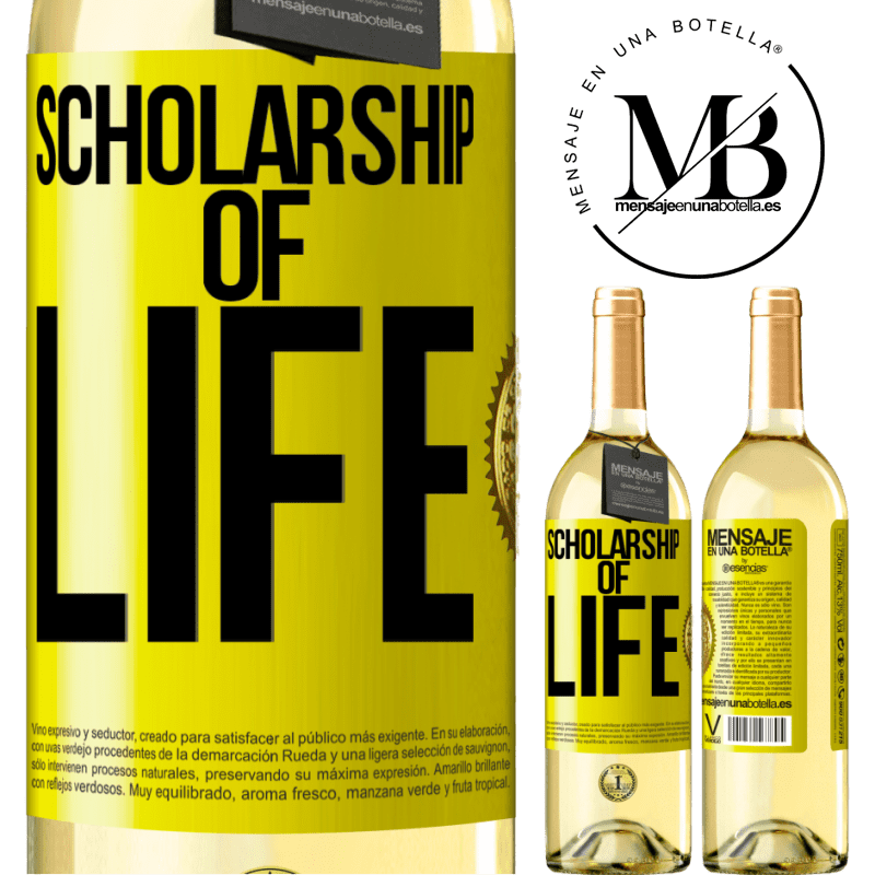 24,95 € Free Shipping | White Wine WHITE Edition Scholarship of life Yellow Label. Customizable label Young wine Harvest 2020 Verdejo