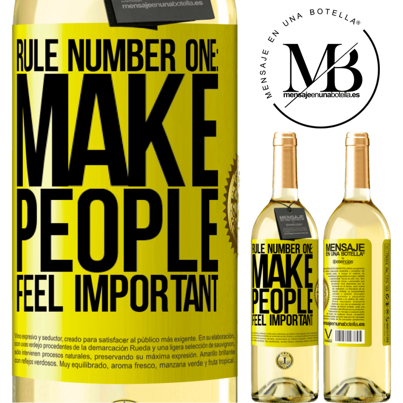 24,95 € Free Shipping   White Wine WHITE Edition Rule number one: make people feel important Yellow Label. Customizable label Young wine Harvest 2020 Verdejo