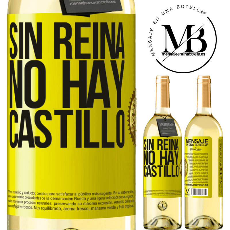 24,95 € Envío gratis | Vino Blanco Edición WHITE Sin reina, no hay castillo Etiqueta Amarilla. Etiqueta personalizable Vino joven Cosecha 2020 Verdejo