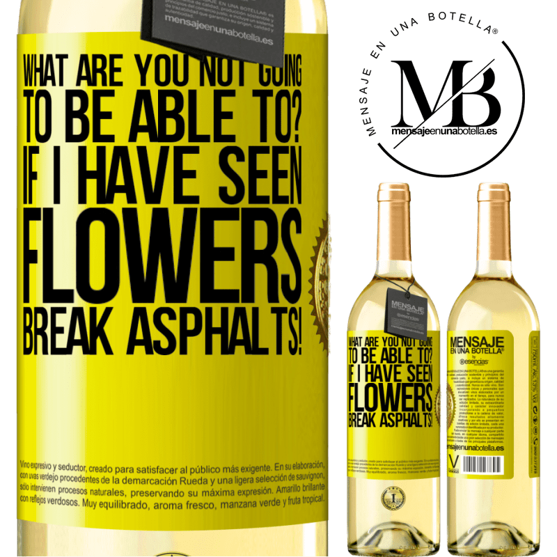 24,95 € Free Shipping | White Wine WHITE Edition what are you not going to be able to? If I have seen flowers break asphalts! Yellow Label. Customizable label Young wine Harvest 2020 Verdejo
