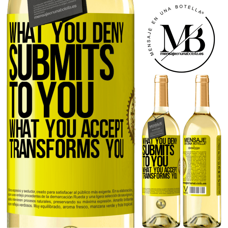 24,95 € Free Shipping | White Wine WHITE Edition What you deny submits to you. What you accept transforms you Yellow Label. Customizable label Young wine Harvest 2020 Verdejo