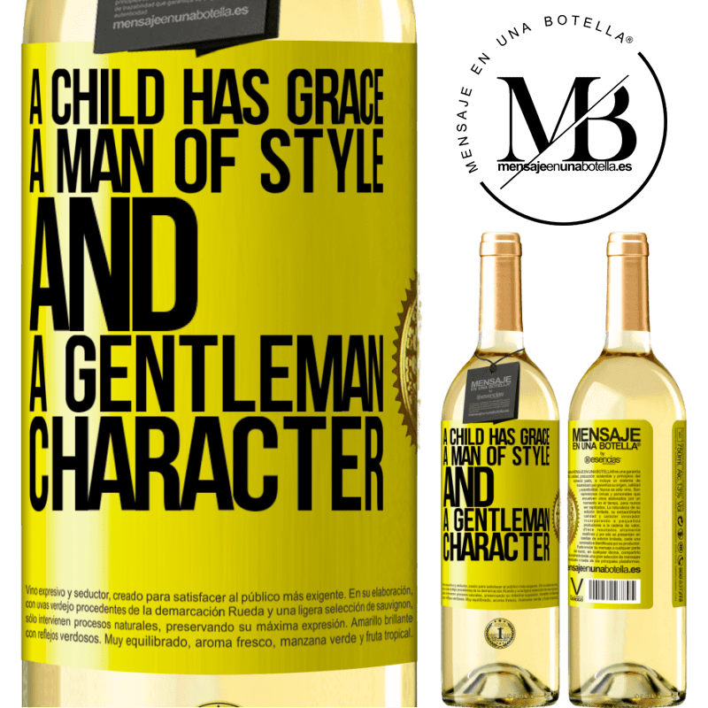 24,95 € Free Shipping | White Wine WHITE Edition A child has grace, a man of style and a gentleman, character Yellow Label. Customizable label Young wine Harvest 2020 Verdejo