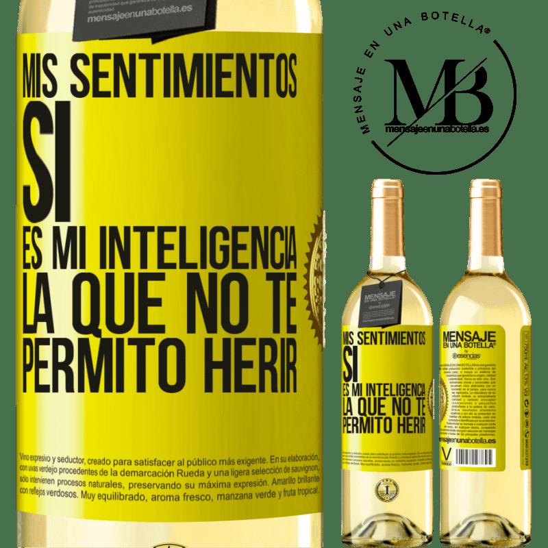 24,95 € Envoi gratuit   Vin blanc Édition WHITE Mes sentiments, oui. C'est mon intelligence que je ne te laisse pas faire de mal Étiquette Jaune. Étiquette personnalisable Vin jeune Récolte 2020 Verdejo