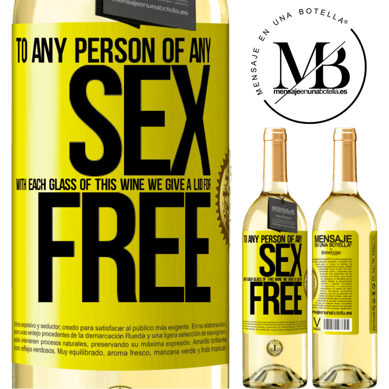 24,95 € Free Shipping | White Wine WHITE Edition To any person of any SEX with each glass of this wine we give a lid for FREE Yellow Label. Customizable label Young wine Harvest 2020 Verdejo