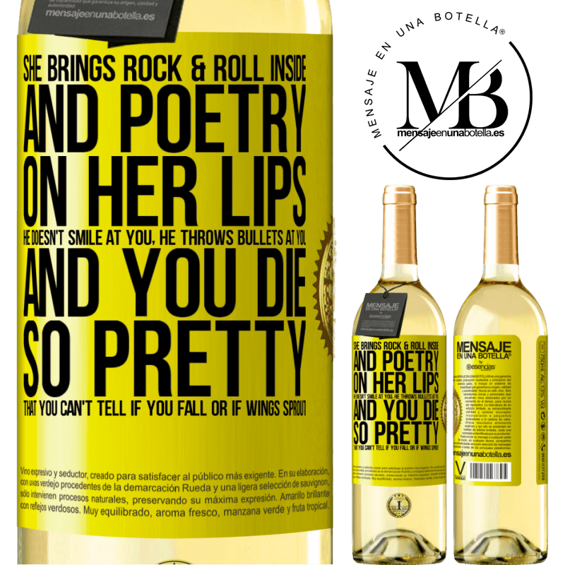 24,95 € Free Shipping | White Wine WHITE Edition She brings Rock & Roll inside and poetry on her lips. He doesn't smile at you, he throws bullets at you, and you die so Yellow Label. Customizable label Young wine Harvest 2020 Verdejo