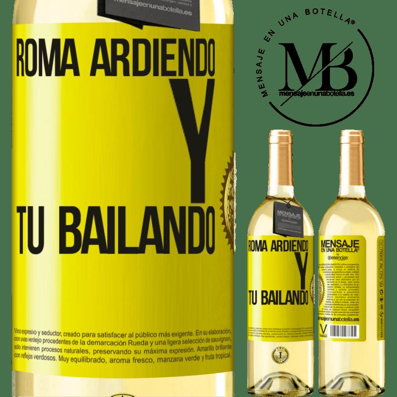 24,95 € Envío gratis | Vino Blanco Edición WHITE Roma ardiendo y tú bailando Etiqueta Amarilla. Etiqueta personalizable Vino joven Cosecha 2020 Verdejo