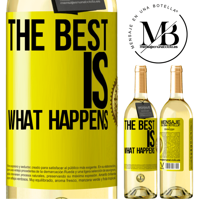 24,95 € Free Shipping | White Wine WHITE Edition The best is what happens Yellow Label. Customizable label Young wine Harvest 2020 Verdejo