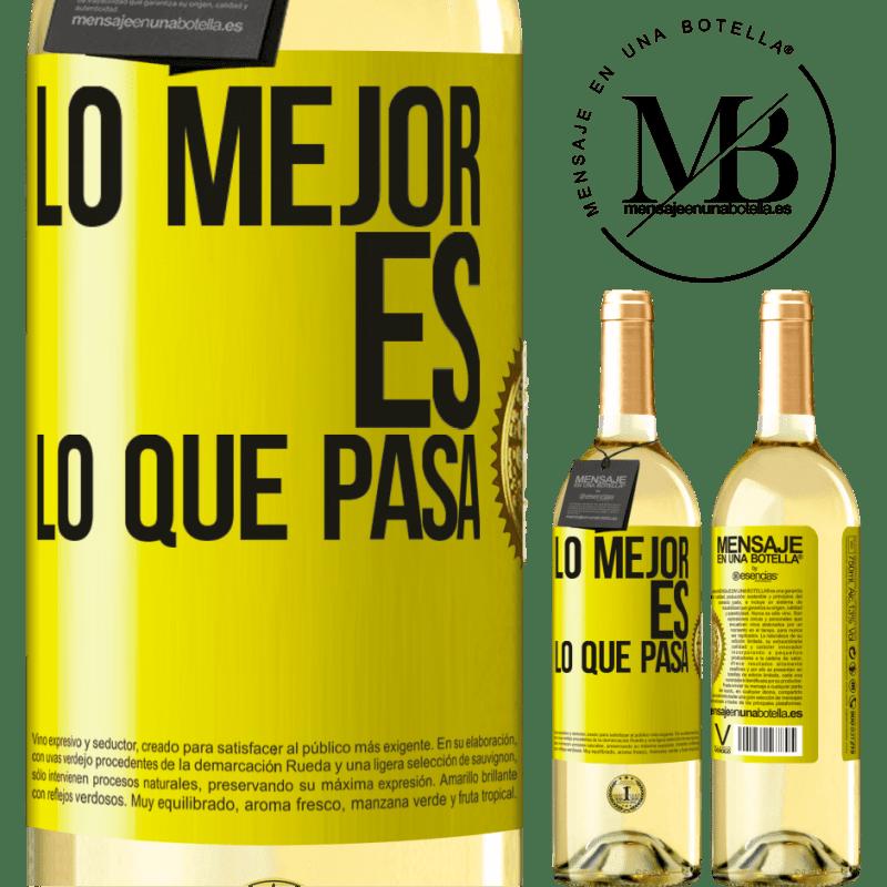 24,95 € Envío gratis | Vino Blanco Edición WHITE Lo mejor es lo que pasa Etiqueta Amarilla. Etiqueta personalizable Vino joven Cosecha 2020 Verdejo