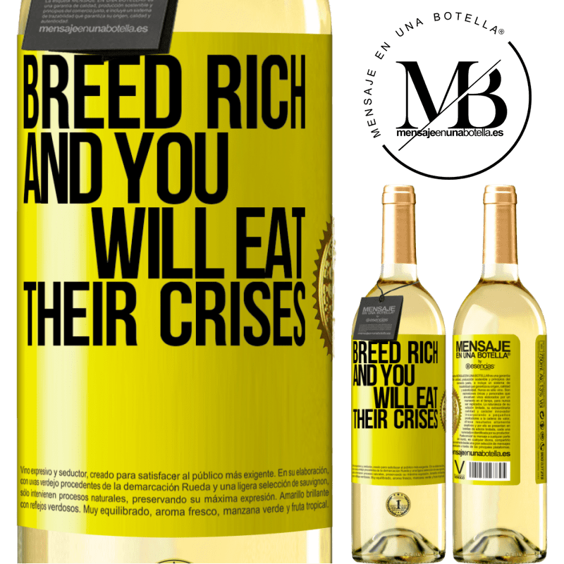 24,95 € Free Shipping | White Wine WHITE Edition Breed rich and you will eat their crises Yellow Label. Customizable label Young wine Harvest 2020 Verdejo