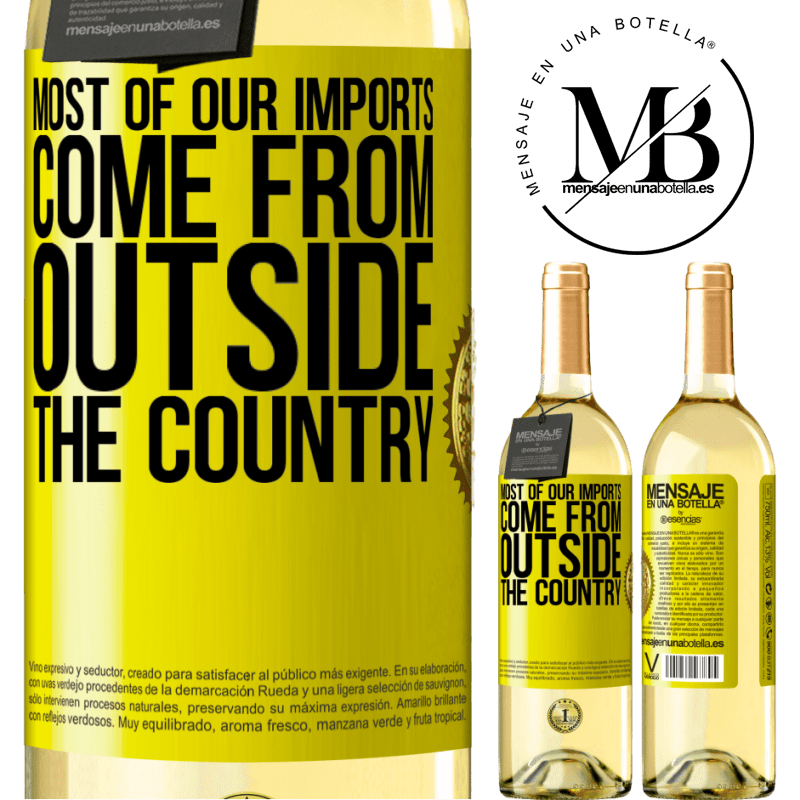 24,95 € Free Shipping | White Wine WHITE Edition Most of our imports come from outside the country Yellow Label. Customizable label Young wine Harvest 2020 Verdejo
