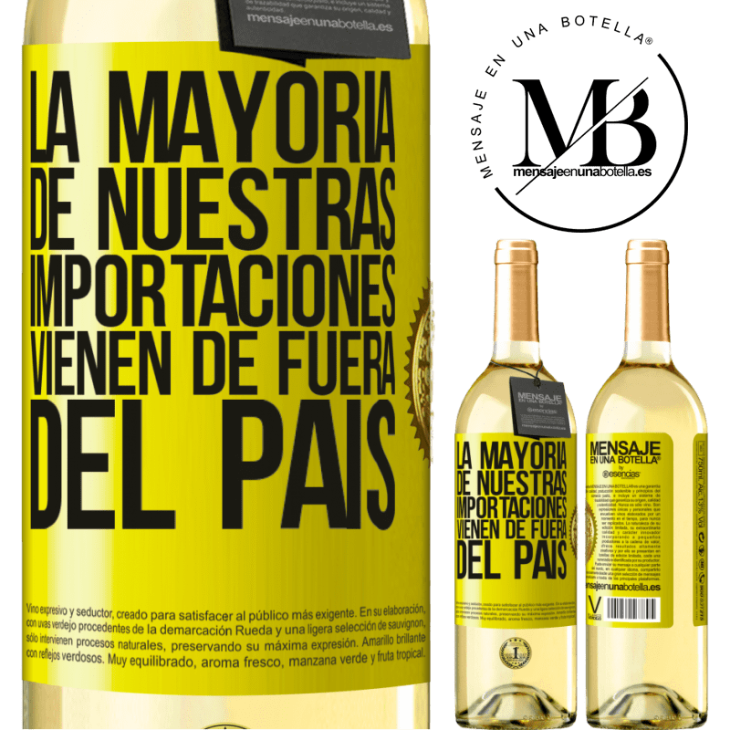 24,95 € Envío gratis | Vino Blanco Edición WHITE La mayoría de nuestras importaciones vienen de fuera del país Etiqueta Amarilla. Etiqueta personalizable Vino joven Cosecha 2020 Verdejo