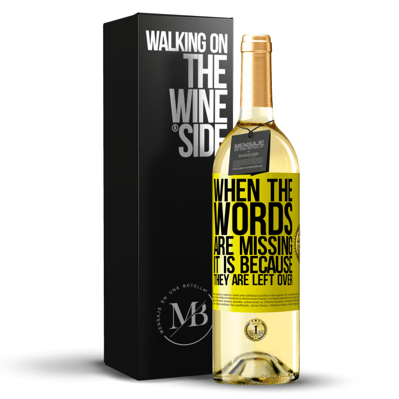 24,95 € Free Shipping | White Wine WHITE Edition When the words are missing, it is because they are left over Yellow Label. Customizable label Young wine Harvest 2020 Verdejo