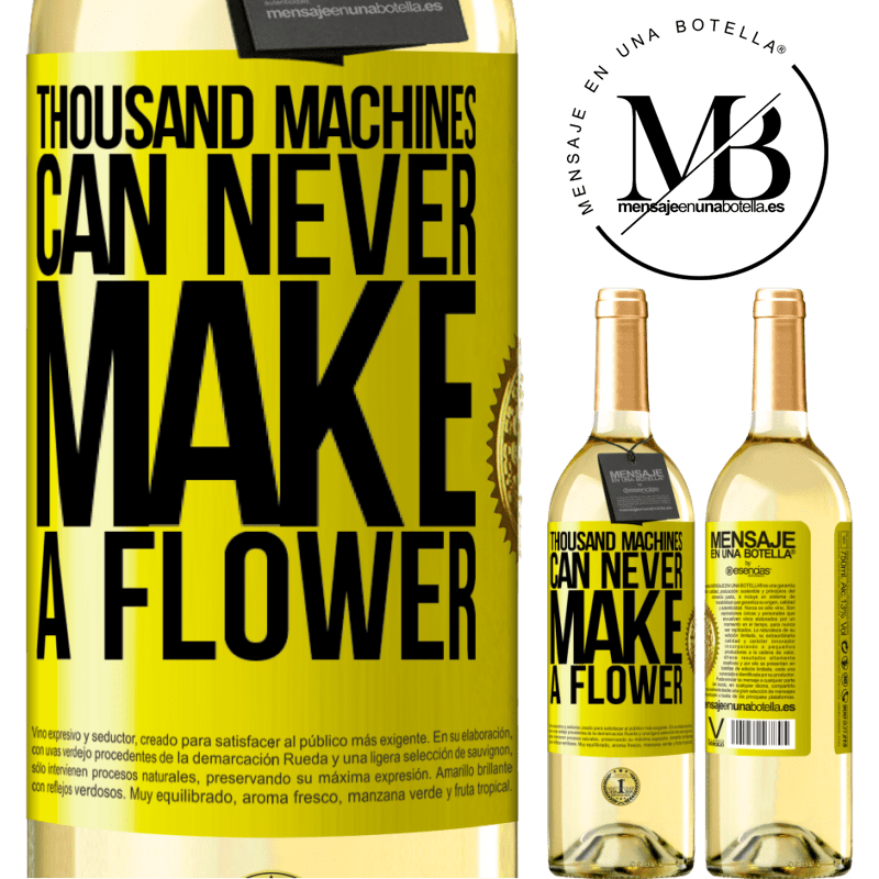 24,95 € Free Shipping   White Wine WHITE Edition Thousand machines can never make a flower Yellow Label. Customizable label Young wine Harvest 2020 Verdejo