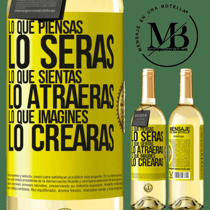 24,95 € Envío gratis   Vino Blanco Edición WHITE Lo que piensas lo serás, lo que sientas lo atraerás, lo que imagines lo crearas Etiqueta Amarilla. Etiqueta personalizable Vino joven Cosecha 2020 Verdejo