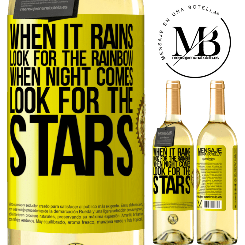 24,95 € Free Shipping | White Wine WHITE Edition When it rains, look for the rainbow, when night comes, look for the stars Yellow Label. Customizable label Young wine Harvest 2020 Verdejo