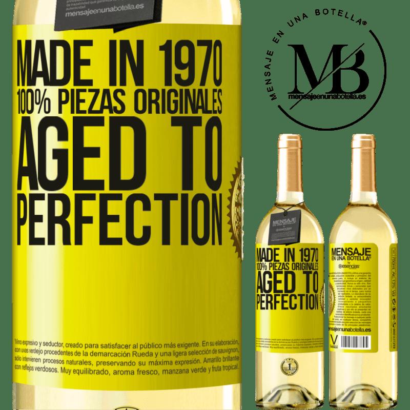 24,95 € Envío gratis | Vino Blanco Edición WHITE Made in 1970, 100% piezas originales. Aged to perfection Etiqueta Amarilla. Etiqueta personalizable Vino joven Cosecha 2020 Verdejo