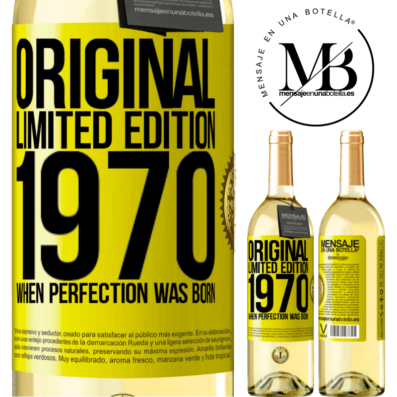 24,95 € Free Shipping   White Wine WHITE Edition Original. Limited edition. 1970. When perfection was born Yellow Label. Customizable label Young wine Harvest 2020 Verdejo