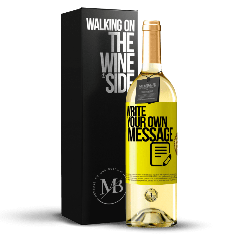 24,95 € Free Shipping   White Wine WHITE Edition Write your own message Yellow Label. Customizable label Young wine Harvest 2020 Verdejo