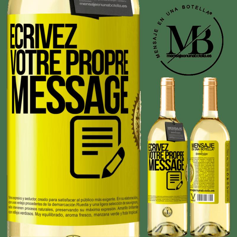 24,95 € Envoi gratuit | Vin blanc Édition WHITE Écrivez votre propre message Étiquette Jaune. Étiquette personnalisable Vin jeune Récolte 2020 Verdejo