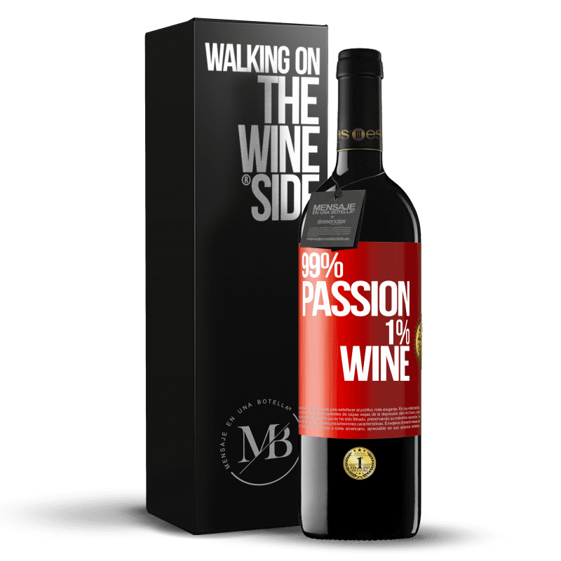 24,95 € Free Shipping | Red Wine RED Edition Crianza 6 Months 99% passion, 1% wine Red Label. Customizable label Aging in oak barrels 6 Months Harvest 2018 Tempranillo
