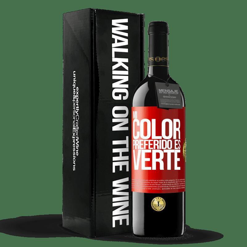 24,95 € Envoi gratuit | Vin rouge Édition RED Crianza 6 Mois Mi color preferido es: verte Étiquette Rouge. Étiquette personnalisable Vieillissement en fûts de chêne 6 Mois Récolte 2018 Tempranillo