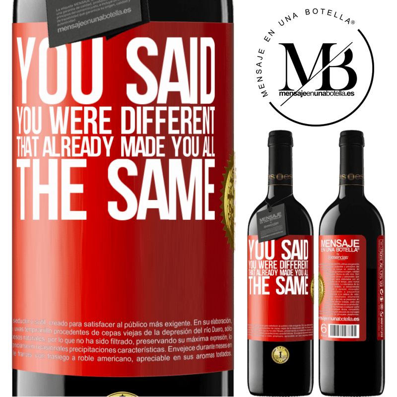 24,95 € Free Shipping | Red Wine RED Edition Crianza 6 Months You said you were different, that already made you all the same Red Label. Customizable label Aging in oak barrels 6 Months Harvest 2018 Tempranillo