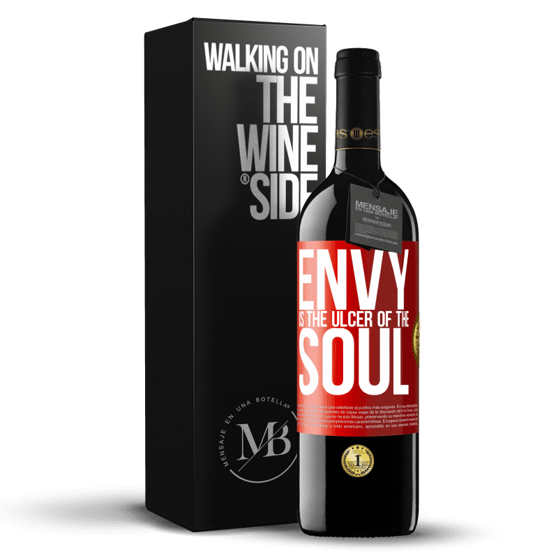 24,95 € Free Shipping | Red Wine RED Edition Crianza 6 Months Envy is the ulcer of the soul Red Label. Customizable label Aging in oak barrels 6 Months Harvest 2018 Tempranillo