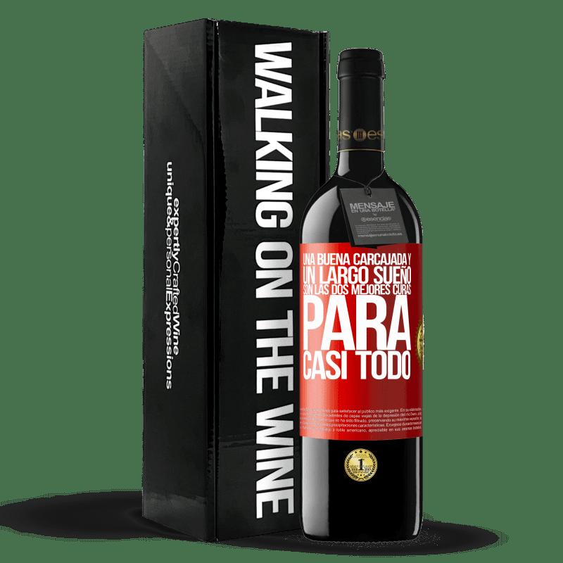 24,95 € Envoi gratuit | Vin rouge Édition RED Crianza 6 Mois Un bon rire et un long rêve sont les deux meilleurs remèdes pour presque tout Étiquette Rouge. Étiquette personnalisable Vieillissement en fûts de chêne 6 Mois Récolte 2018 Tempranillo