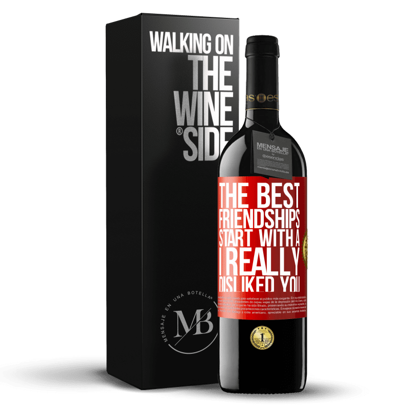 24,95 € Free Shipping   Red Wine RED Edition Crianza 6 Months The best friendships start with a I really disliked you Red Label. Customizable label Aging in oak barrels 6 Months Harvest 2018 Tempranillo