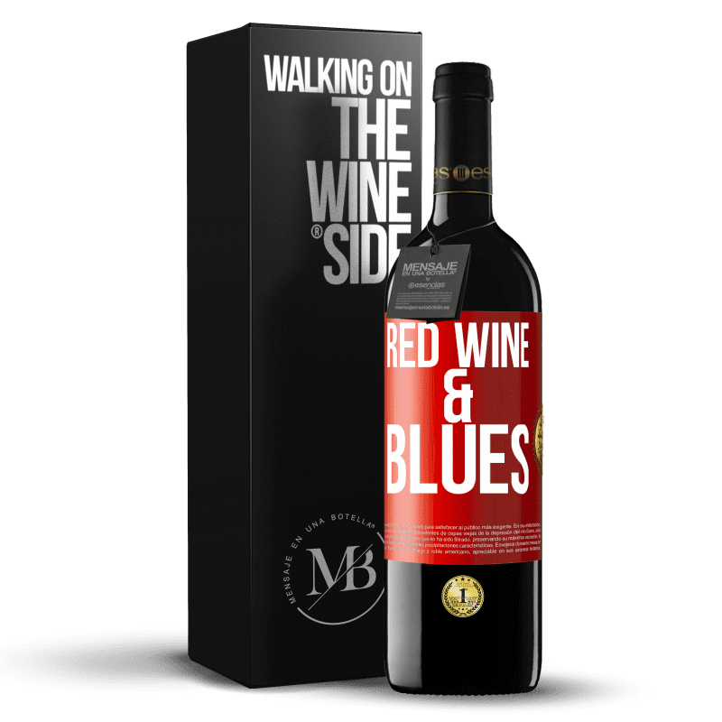 24,95 € Free Shipping | Red Wine RED Edition Crianza 6 Months Red wine & Blues Red Label. Customizable label Aging in oak barrels 6 Months Harvest 2018 Tempranillo