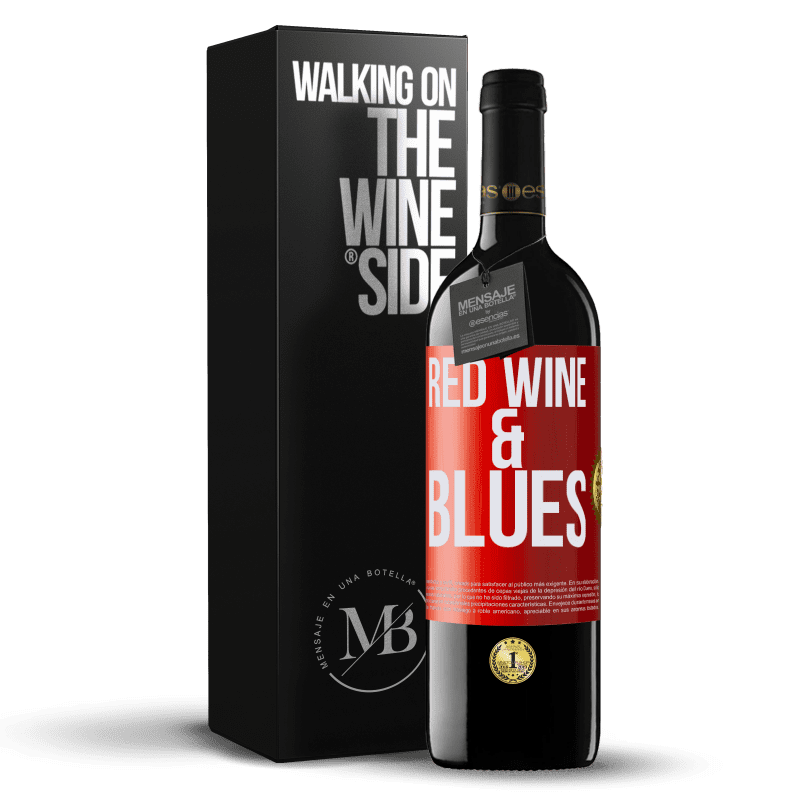 24,95 € Envoi gratuit | Vin rouge Édition RED Crianza 6 Mois Red wine & Blues Étiquette Rouge. Étiquette personnalisable Vieillissement en fûts de chêne 6 Mois Récolte 2018 Tempranillo