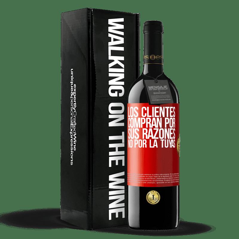 24,95 € Envoi gratuit | Vin rouge Édition RED Crianza 6 Mois Les clients achètent pour leurs raisons, pas les vôtres Étiquette Rouge. Étiquette personnalisable Vieillissement en fûts de chêne 6 Mois Récolte 2018 Tempranillo
