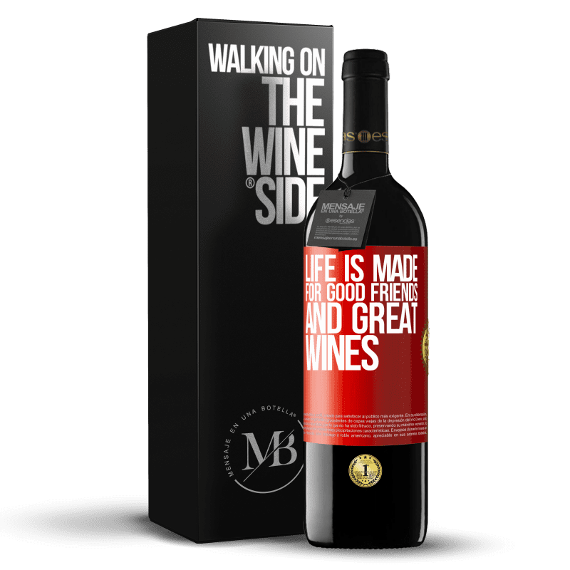24,95 € Free Shipping   Red Wine RED Edition Crianza 6 Months Life is made for good friends and great wines Red Label. Customizable label Aging in oak barrels 6 Months Harvest 2018 Tempranillo