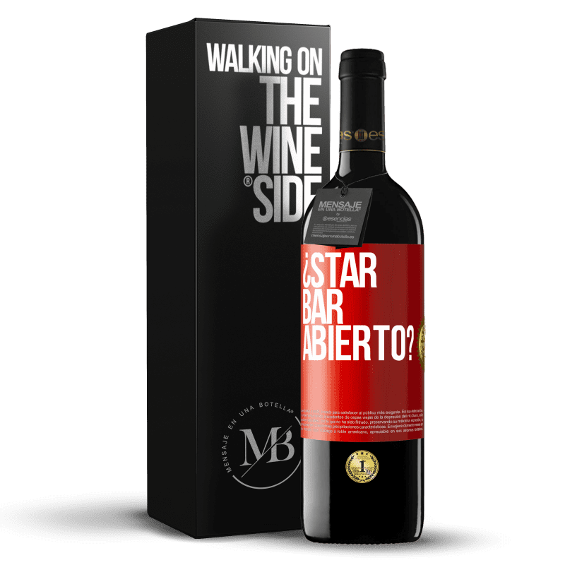 24,95 € Free Shipping | Red Wine RED Edition Crianza 6 Months ¿STAR BAR abierto? Red Label. Customizable label Aging in oak barrels 6 Months Harvest 2018 Tempranillo