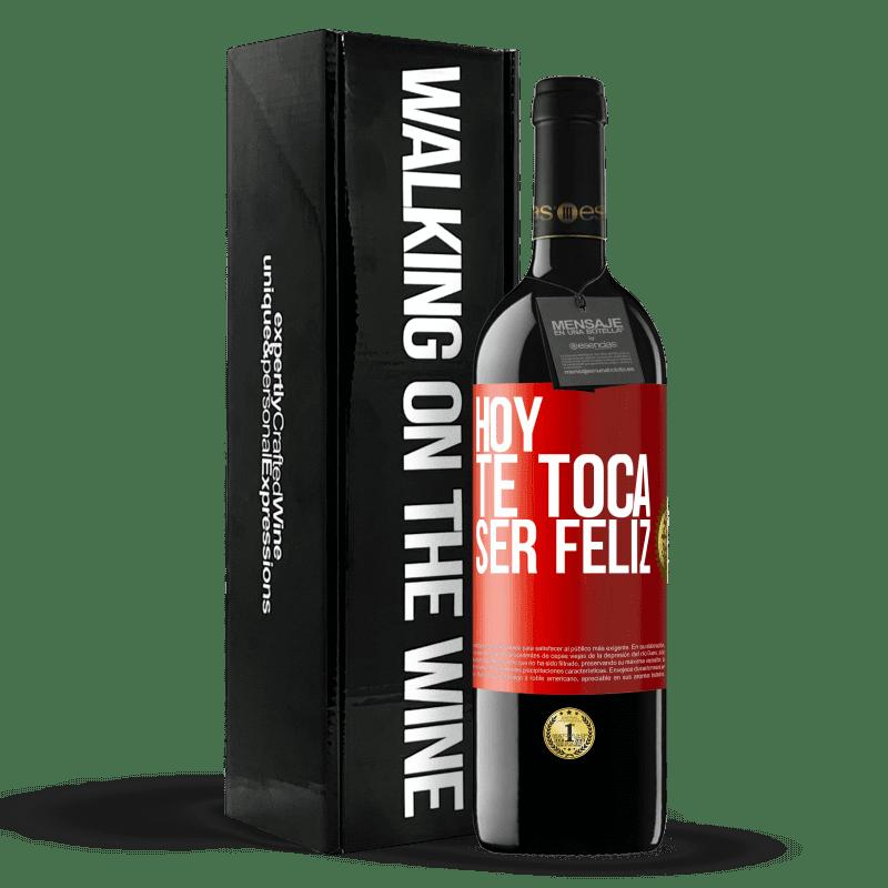 24,95 € Envoi gratuit   Vin rouge Édition RED Crianza 6 Mois Aujourd'hui, il faut être heureux Étiquette Rouge. Étiquette personnalisable Vieillissement en fûts de chêne 6 Mois Récolte 2018 Tempranillo