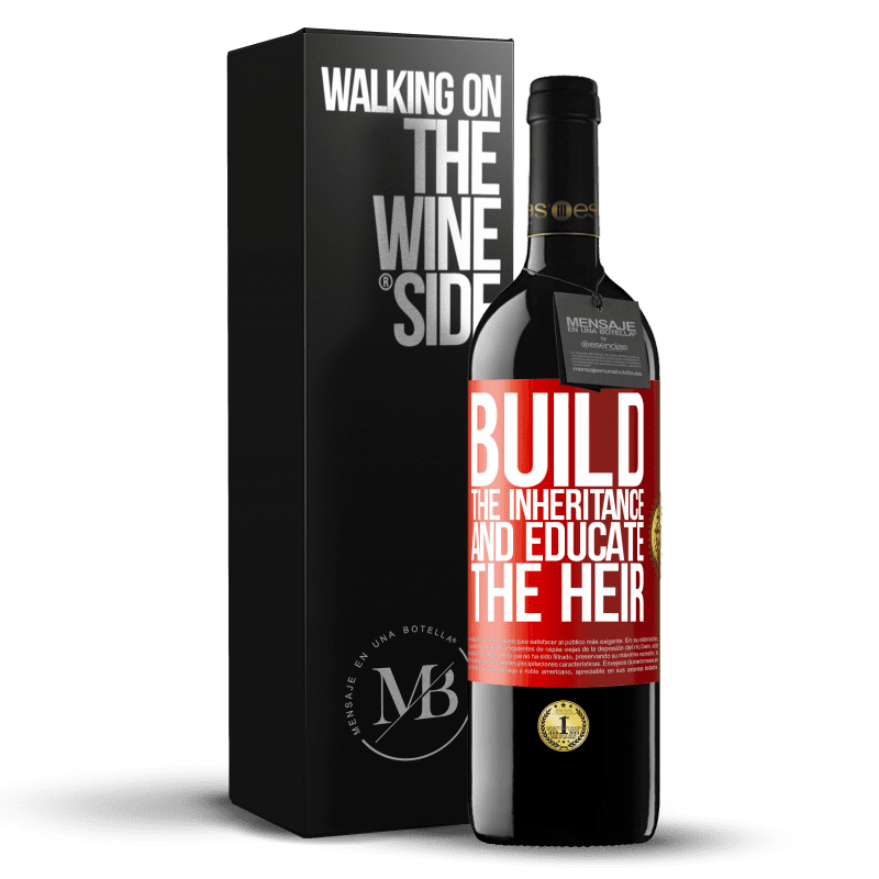 24,95 € Free Shipping | Red Wine RED Edition Crianza 6 Months Build the inheritance and educate the heir Red Label. Customizable label Aging in oak barrels 6 Months Harvest 2018 Tempranillo