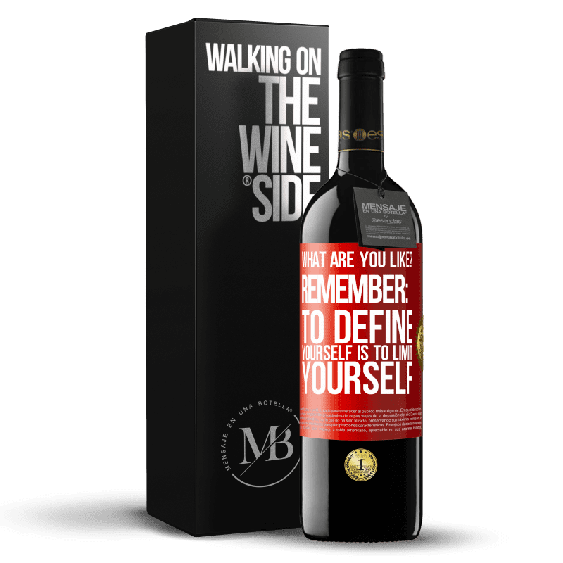 24,95 € Free Shipping | Red Wine RED Edition Crianza 6 Months what are you like? Remember: To define yourself is to limit yourself Red Label. Customizable label Aging in oak barrels 6 Months Harvest 2018 Tempranillo