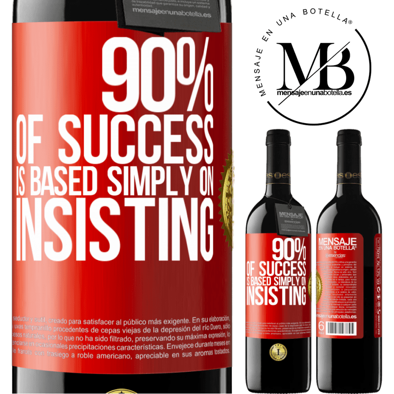 24,95 € Free Shipping | Red Wine RED Edition Crianza 6 Months 90% of success is based simply on insisting Red Label. Customizable label Aging in oak barrels 6 Months Harvest 2018 Tempranillo