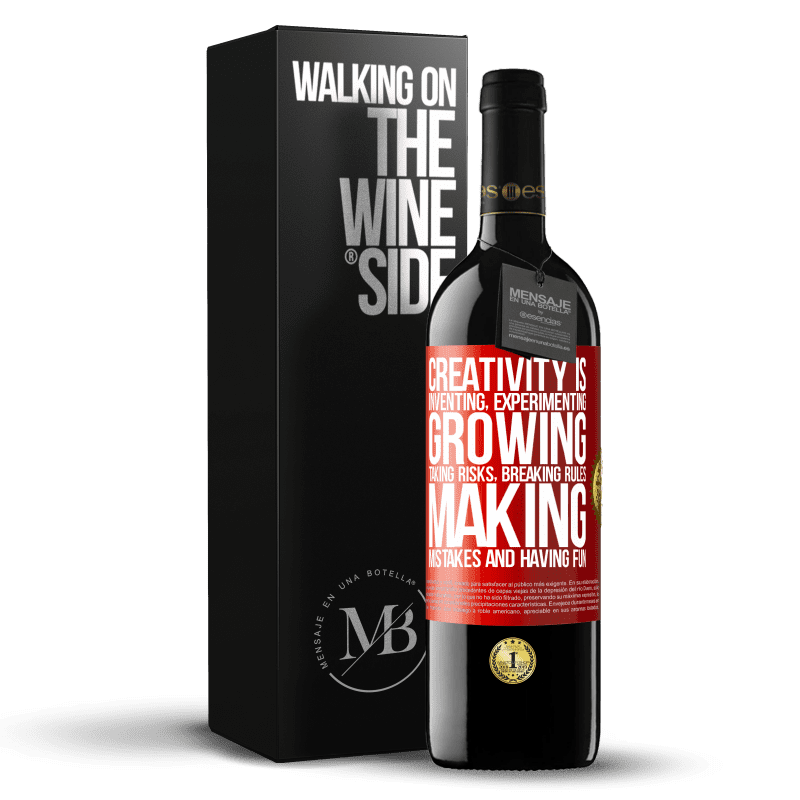 24,95 € Free Shipping | Red Wine RED Edition Crianza 6 Months Creativity is inventing, experimenting, growing, taking risks, breaking rules, making mistakes, and having fun Red Label. Customizable label Aging in oak barrels 6 Months Harvest 2018 Tempranillo