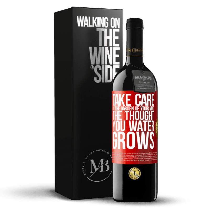 24,95 € Free Shipping | Red Wine RED Edition Crianza 6 Months Take care of the garden of your mind. The thought you water grows Red Label. Customizable label Aging in oak barrels 6 Months Harvest 2018 Tempranillo