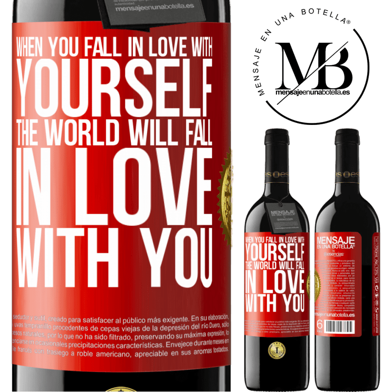 24,95 € Free Shipping | Red Wine RED Edition Crianza 6 Months When you fall in love with yourself, the world will fall in love with you Red Label. Customizable label Aging in oak barrels 6 Months Harvest 2018 Tempranillo