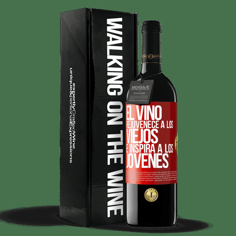 24,95 € Envoi gratuit   Vin rouge Édition RED Crianza 6 Mois Le vin rajeunit les vieux et inspire les jeunes Étiquette Rouge. Étiquette personnalisable Vieillissement en fûts de chêne 6 Mois Récolte 2018 Tempranillo
