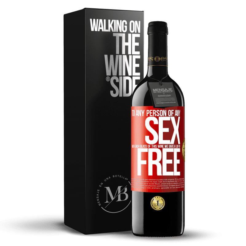 24,95 € Free Shipping | Red Wine RED Edition Crianza 6 Months To any person of any SEX with each glass of this wine we give a lid for FREE Red Label. Customizable label Aging in oak barrels 6 Months Harvest 2018 Tempranillo
