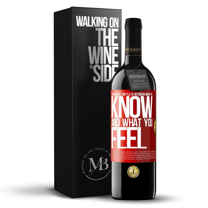24,95 € Free Shipping | Red Wine RED Edition Crianza 6 Months Your worst battle is between what you know and what you feel Red Label. Customizable label Aging in oak barrels 6 Months Harvest 2018 Tempranillo